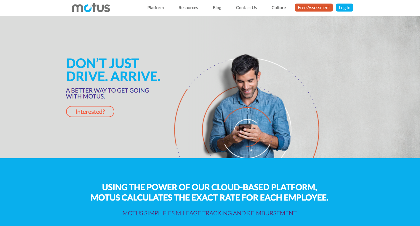 this is a screenshot of motus's marketing website anding page