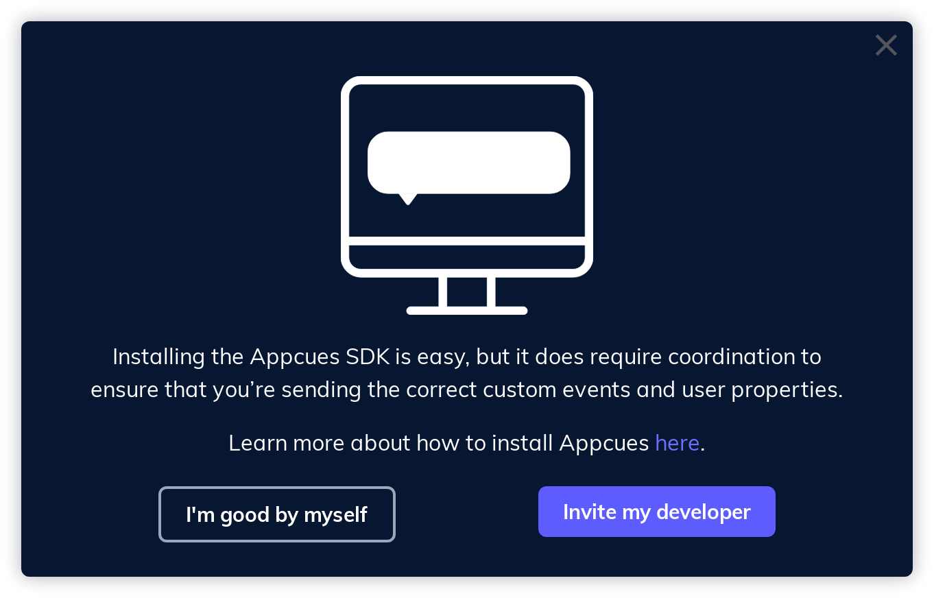 this is an example of a modal window made with appcues with a dark background, white text, and white icon with body text and 2 ctas