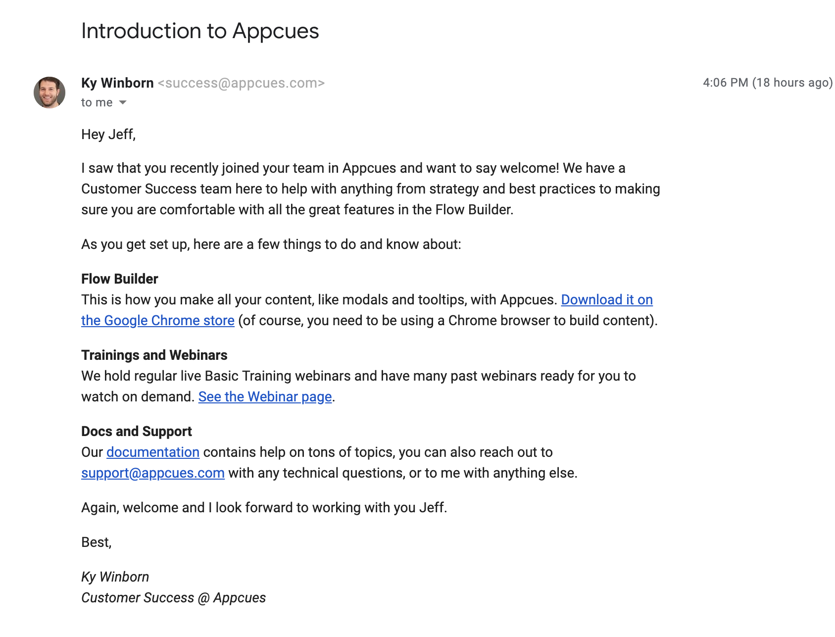 this is an example of an nth user onboarding email from appcues