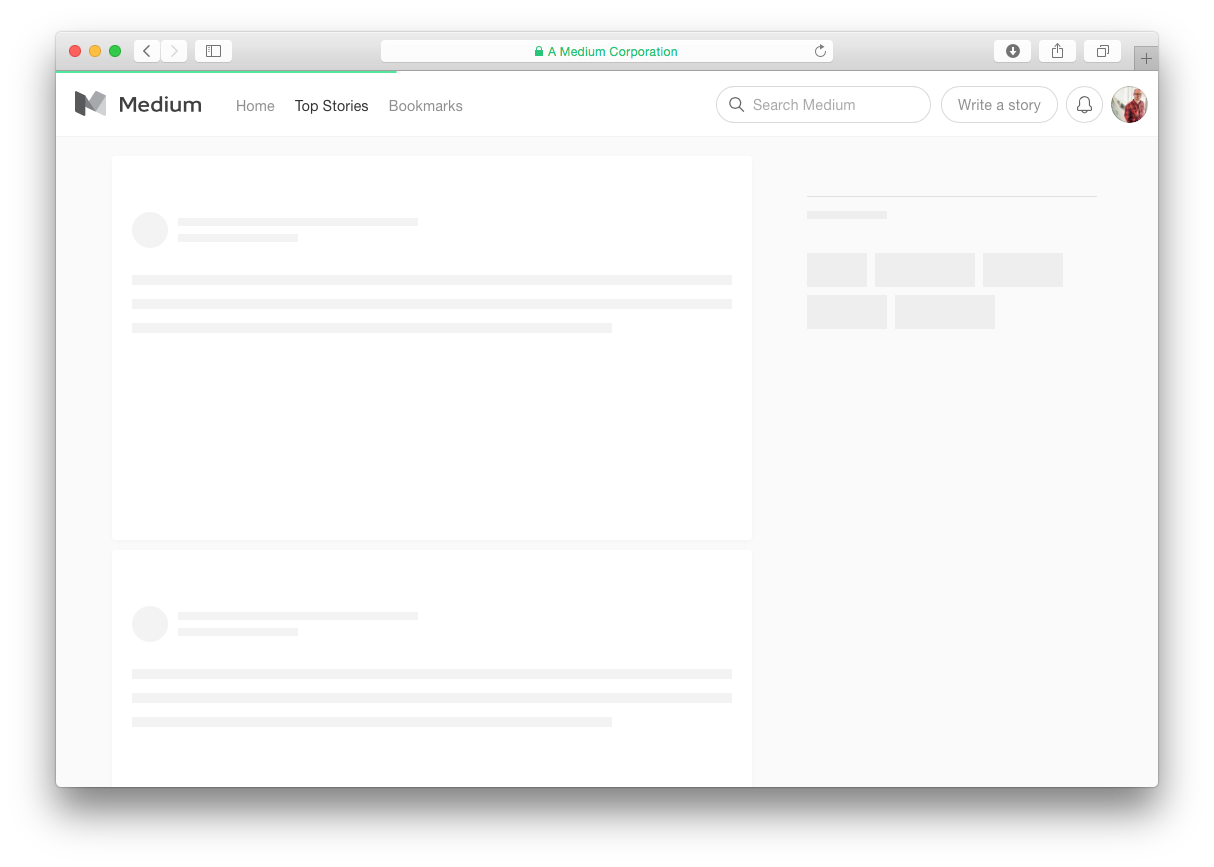 this is a screenshot image of an empty state skeleton screen from medium.com that shows a good loading page example