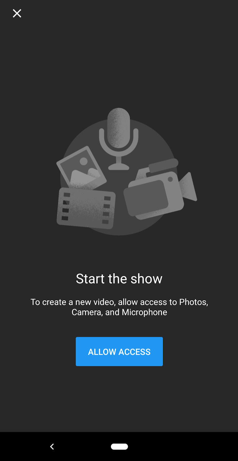 "YouTube's permission priming that says, ""Start the show. To create a new video, allow access to Photos, Camera, and Microphone."""