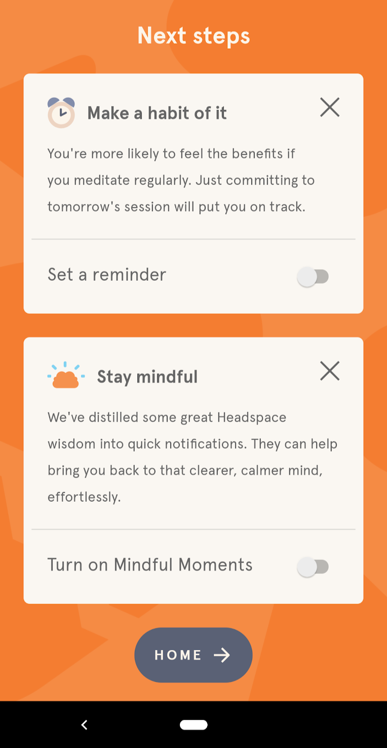 "Headspace's permission priming that prompts a user to turn on ""mindful moments""."