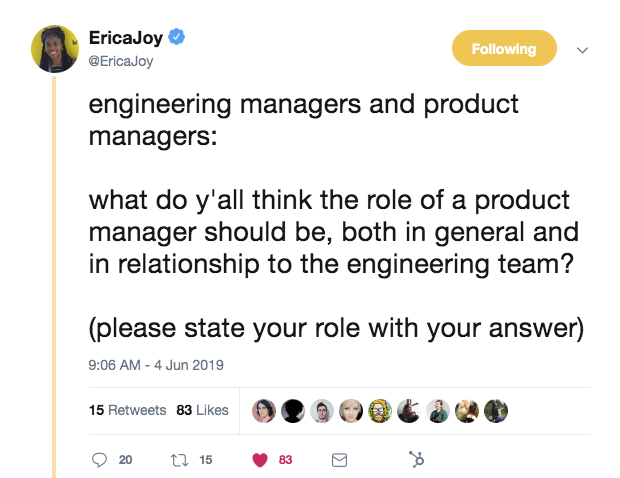 this is a tweet from erica joy at microsoft about the role of engineers managers and product managers