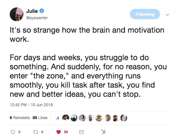 this is a tweet from julie delanoy at producthunt about getting into the zone at work