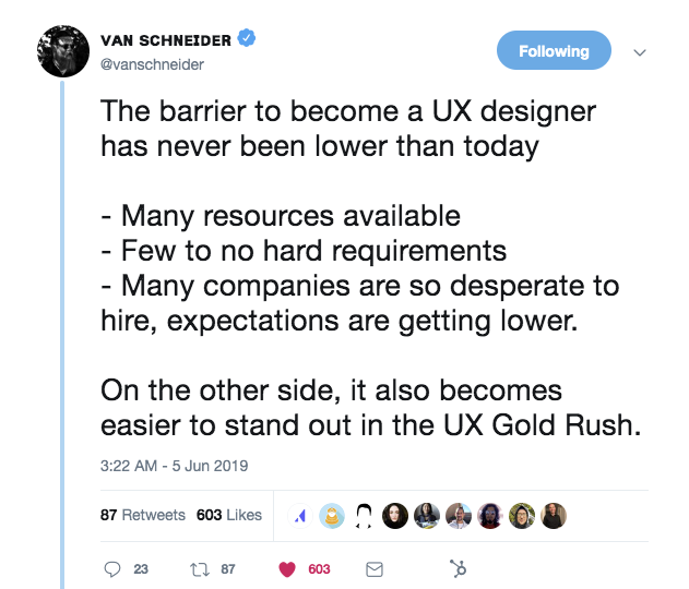 this is a tweet about how it's easier than ever to become a ux designer