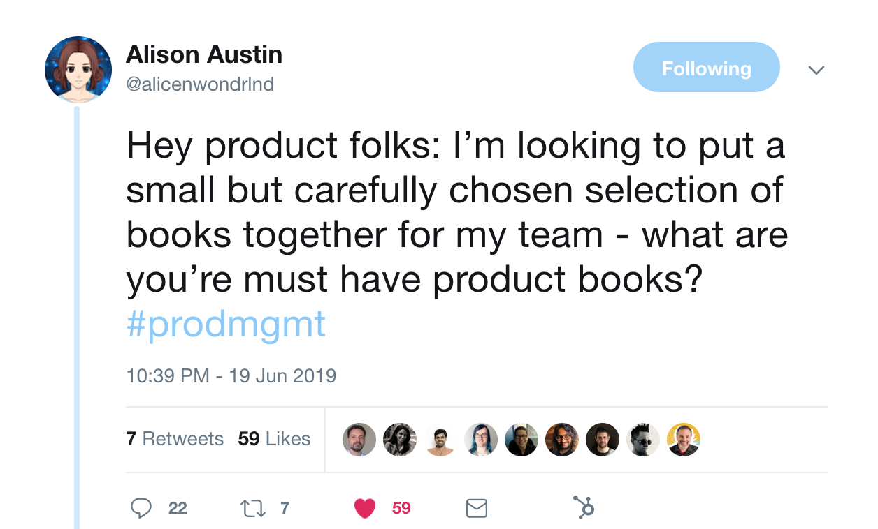 this is a tweet from alison austin about product management and software books