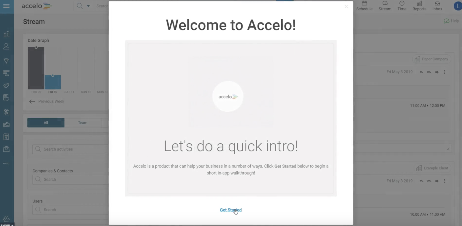 This is a screenshot image of a welcome modal dialog window targeted to new users