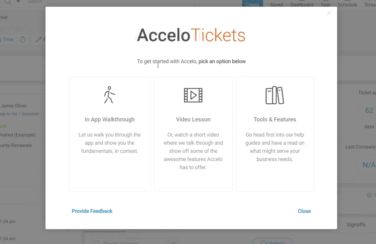 this is a screenshot image of a modal window with multiple button options: in-app walkthrough, video lesson, help guides, or provide feedback