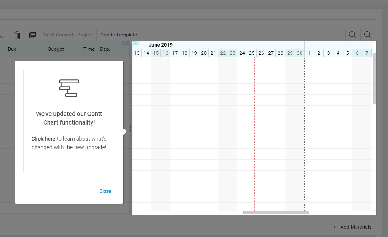"This is a screenshot image of a tooltip made with appcues that includes an icon, header text that announces ""we've updated our gantt chart functionality""  and descriptive text"