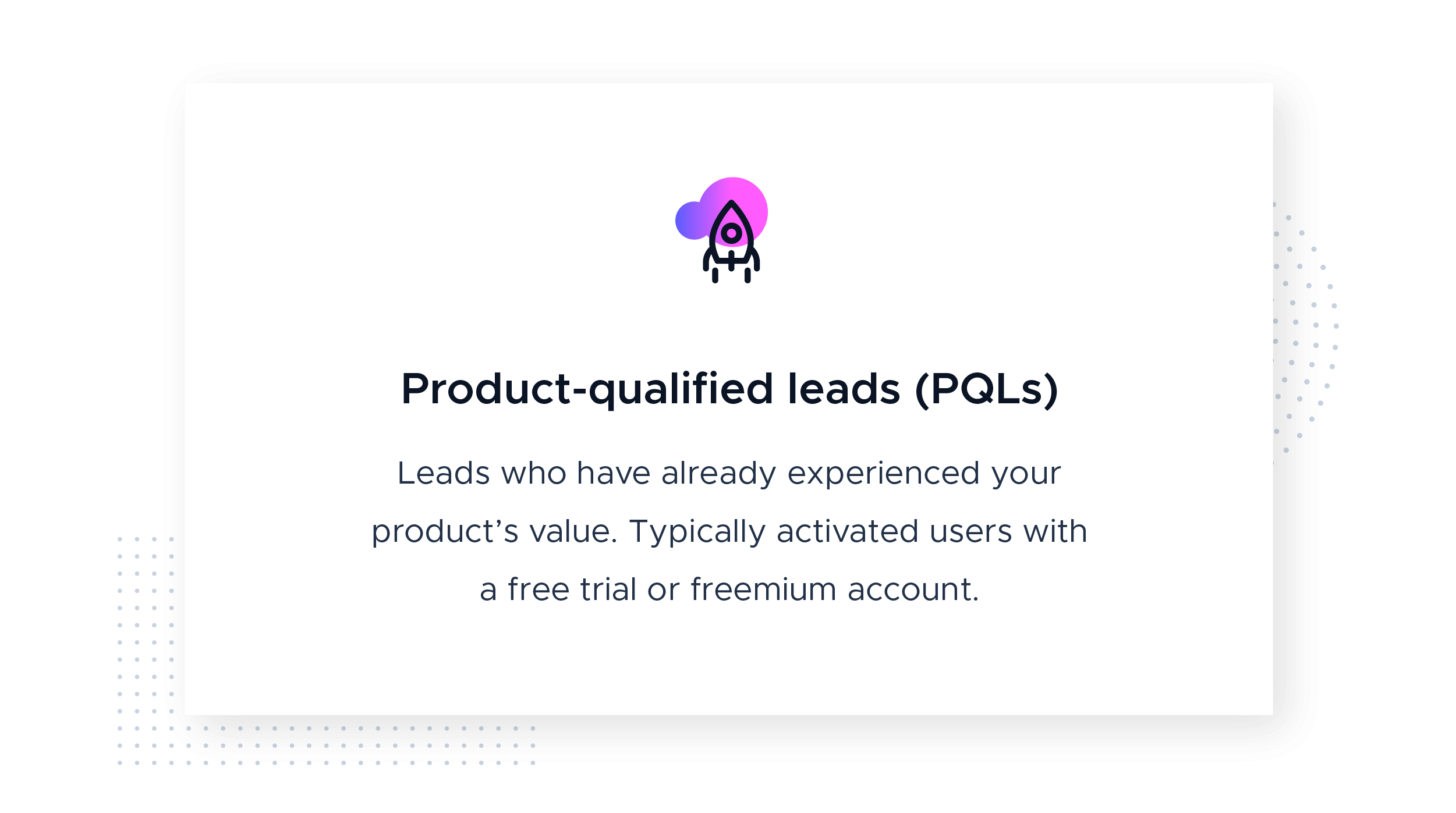 Product-qualified leads definition with icon from the Product-Led Growth Collective. This image defines product-qualified leads (PQLs) as leads who have already experienced your product's value. Typically activated users with a free trial or freemium account.