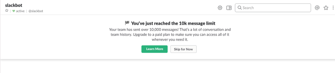 screenshot of slack 10k message limit feature premium upgrade prompt