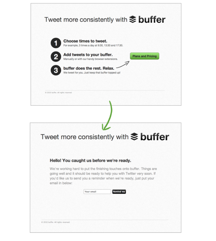 screenshots of buffer's first landing pages that helped CEO validate a minimum viable product (MVP)