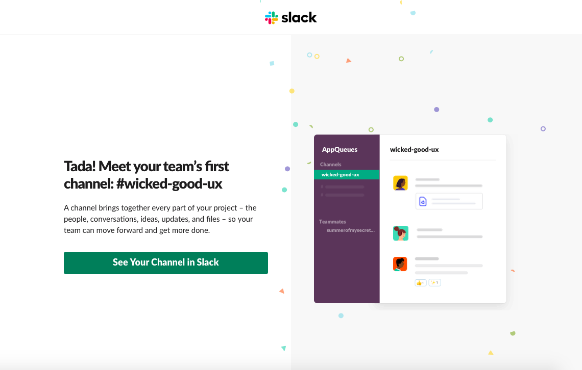 screenshot image of slack's user onboarding experience for web app