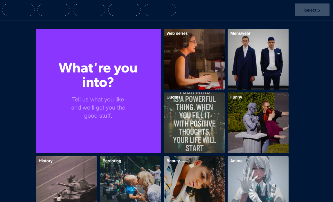 screenshot image of tumblr's user onboarding experience. this screen shows how users can customize their feed by selecting their interests