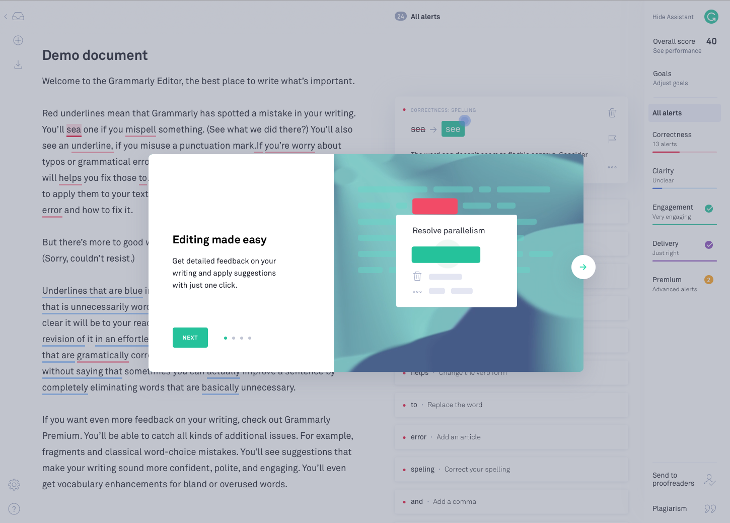 a screenshot image of grammarly's onboarding experience with a modal window