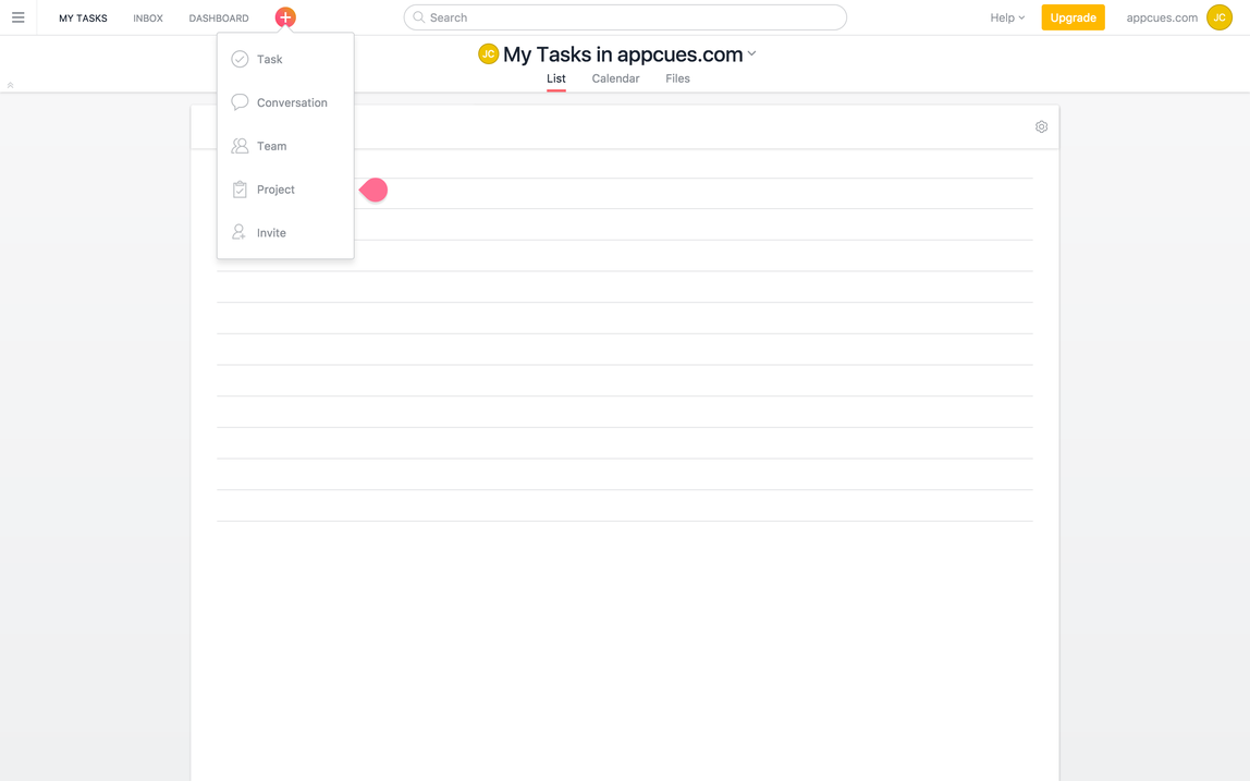 this is an example of a teardrop shaped hotspot ui pattern in the asana platform