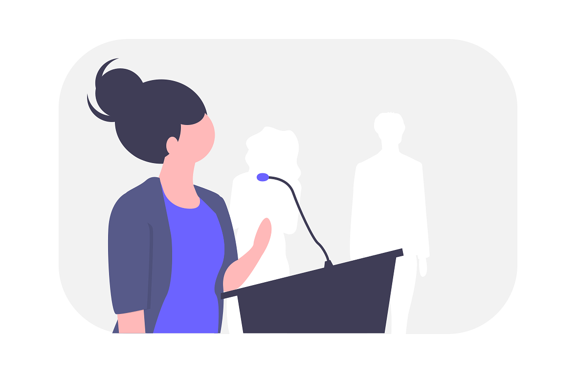 an illustration of a growth product manager communicating at a podium