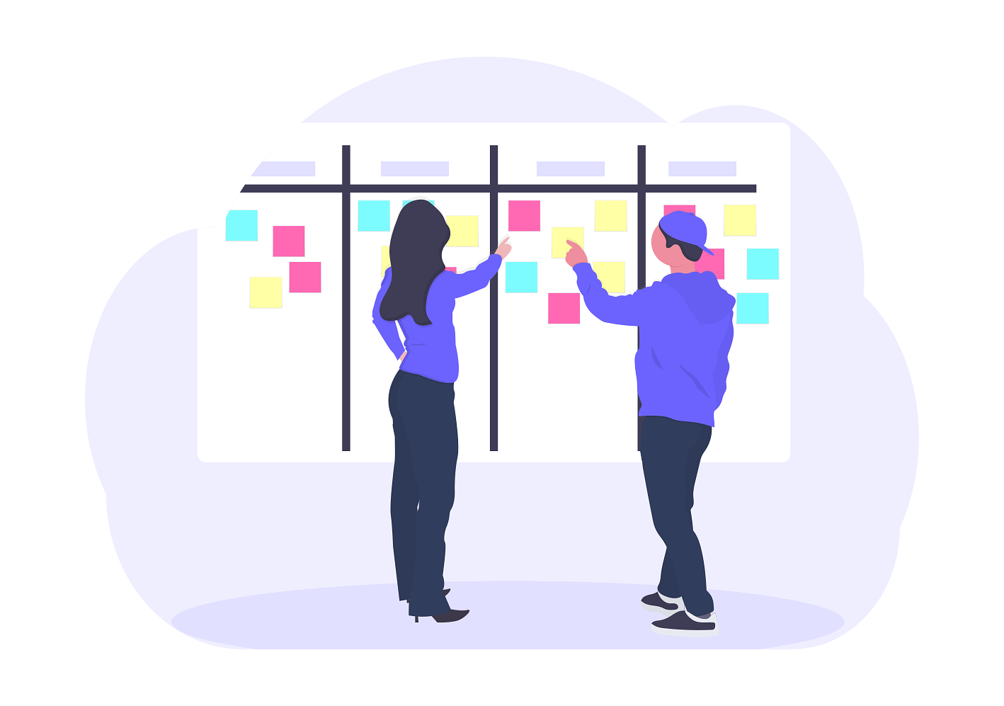 an illustration of product managers at a scrum board with sticky notes