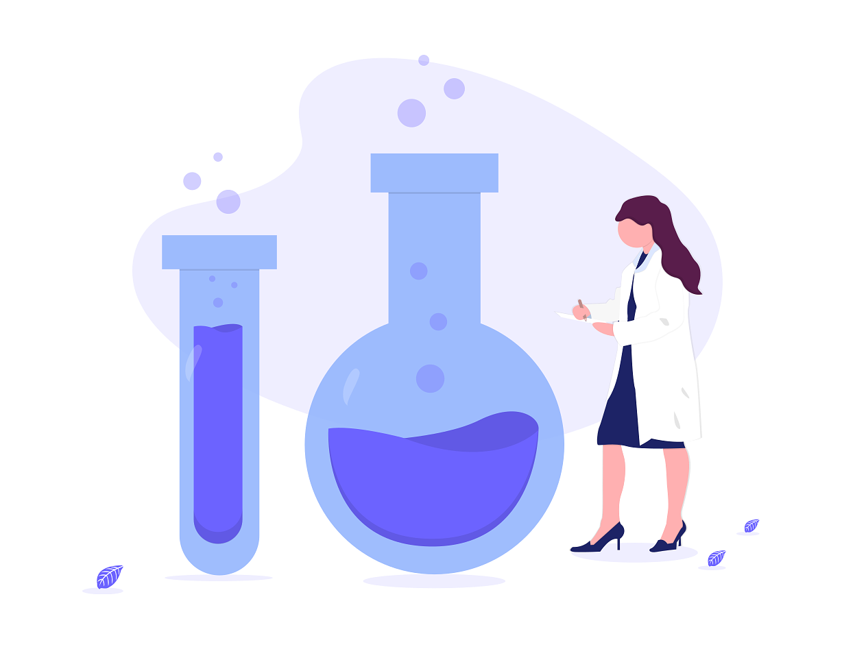 an illustration of a scientist in front of a large purple test tube