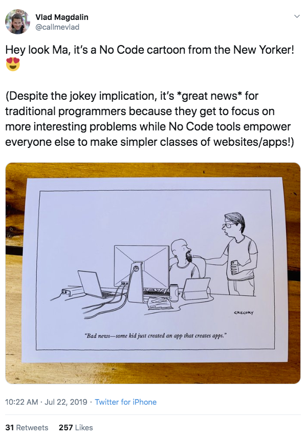 tweet from @callmevlad about no-code WYSIWYG tools