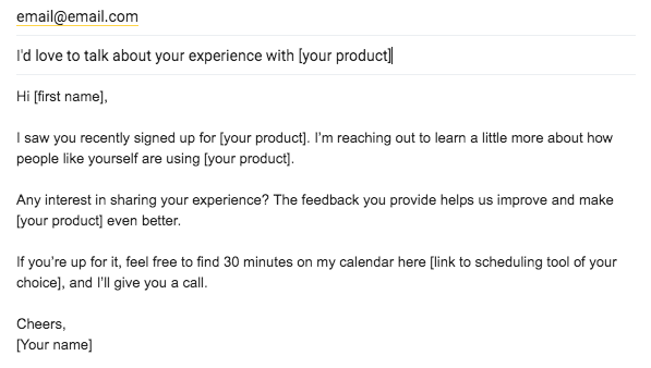 user interview invite email example template to get customer feedback