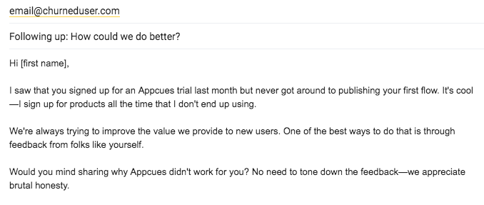 example email to a churned user asking for feedback about their product experience