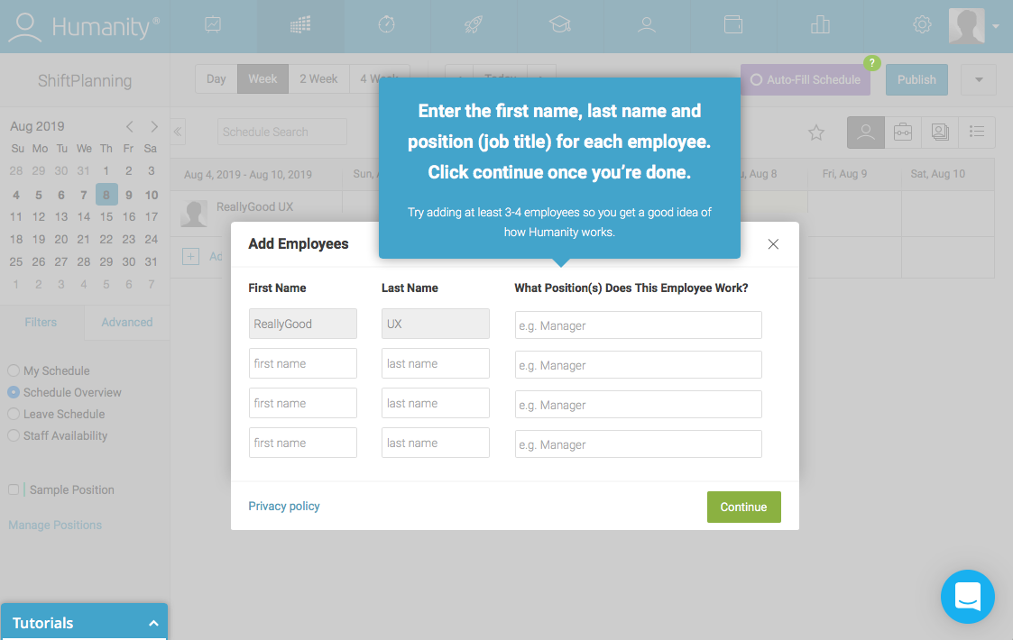 employee management platform dashboard walkthrough tooltip over modal