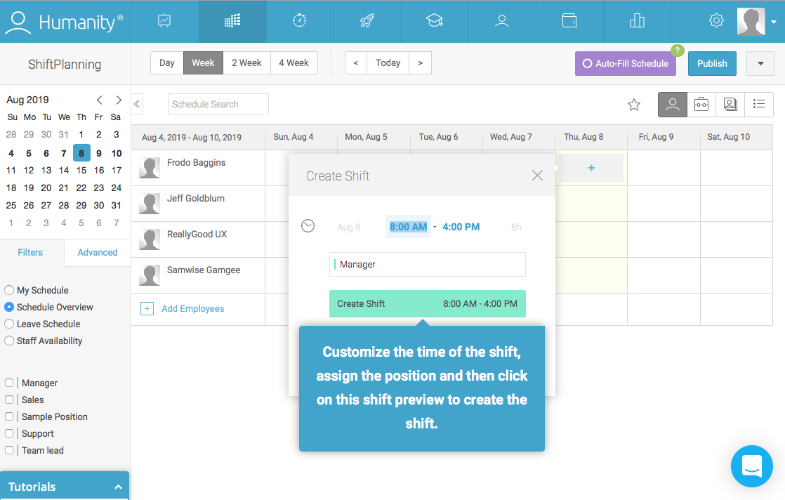 employee management platform dashboard walkthrough tooltip