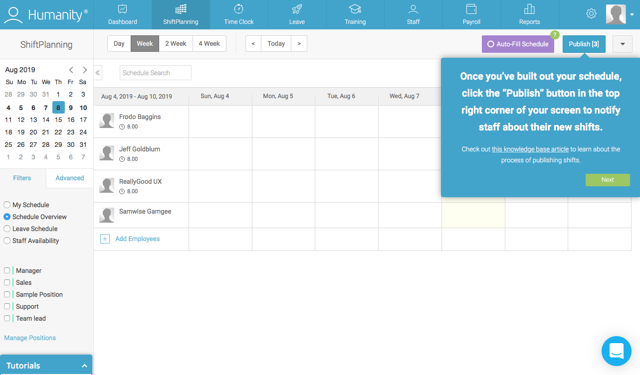 employee management platform dashboard walkthrough tooltip attached to publish button