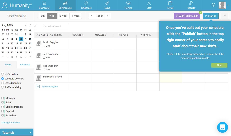 employee management platform dashboard walkthrough tooltip attached to publish button