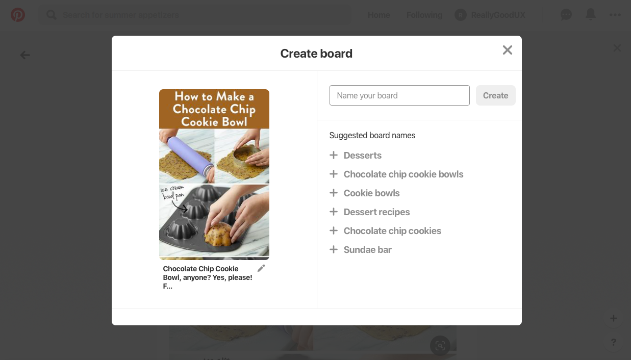 pinterest useronboarding how to create and name new board