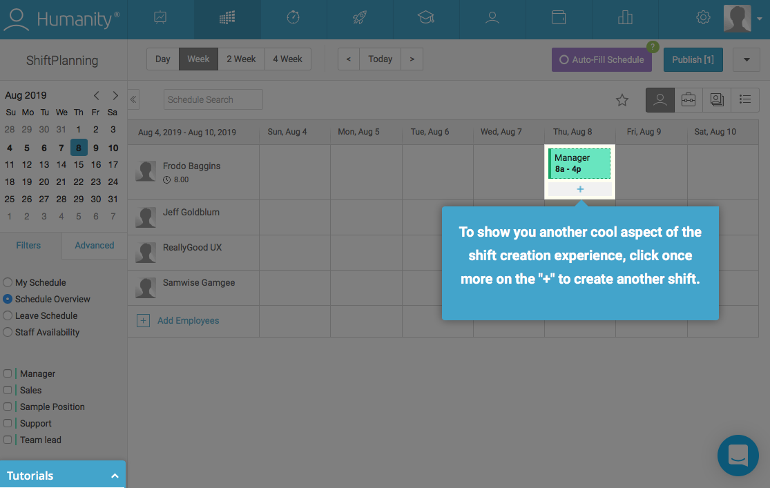 employee management platform dashboard walkthrough tooltip attached to feature