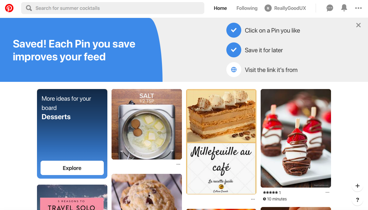 pinterest user onboarding partially completed checklist