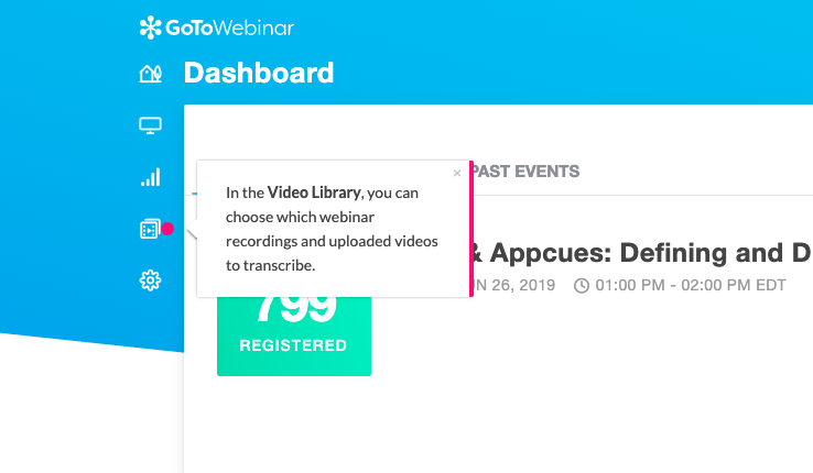 gotowebinar feature walkthrough tour tooltip made with appcues