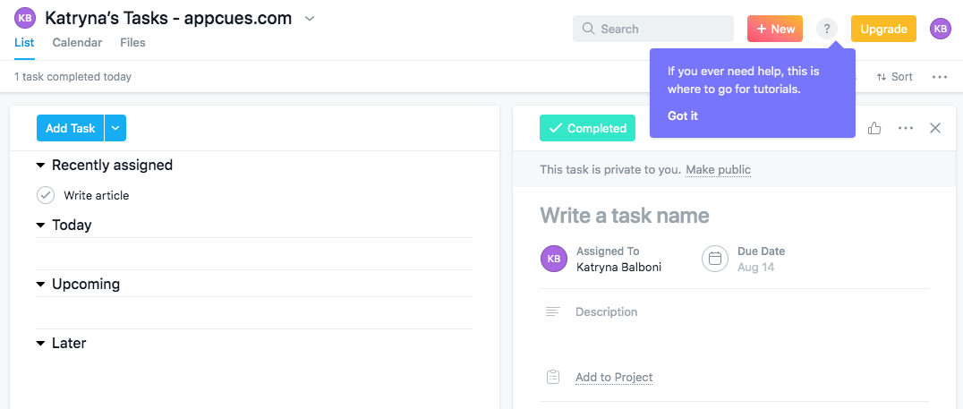 asana self service help tutorial button tooltip