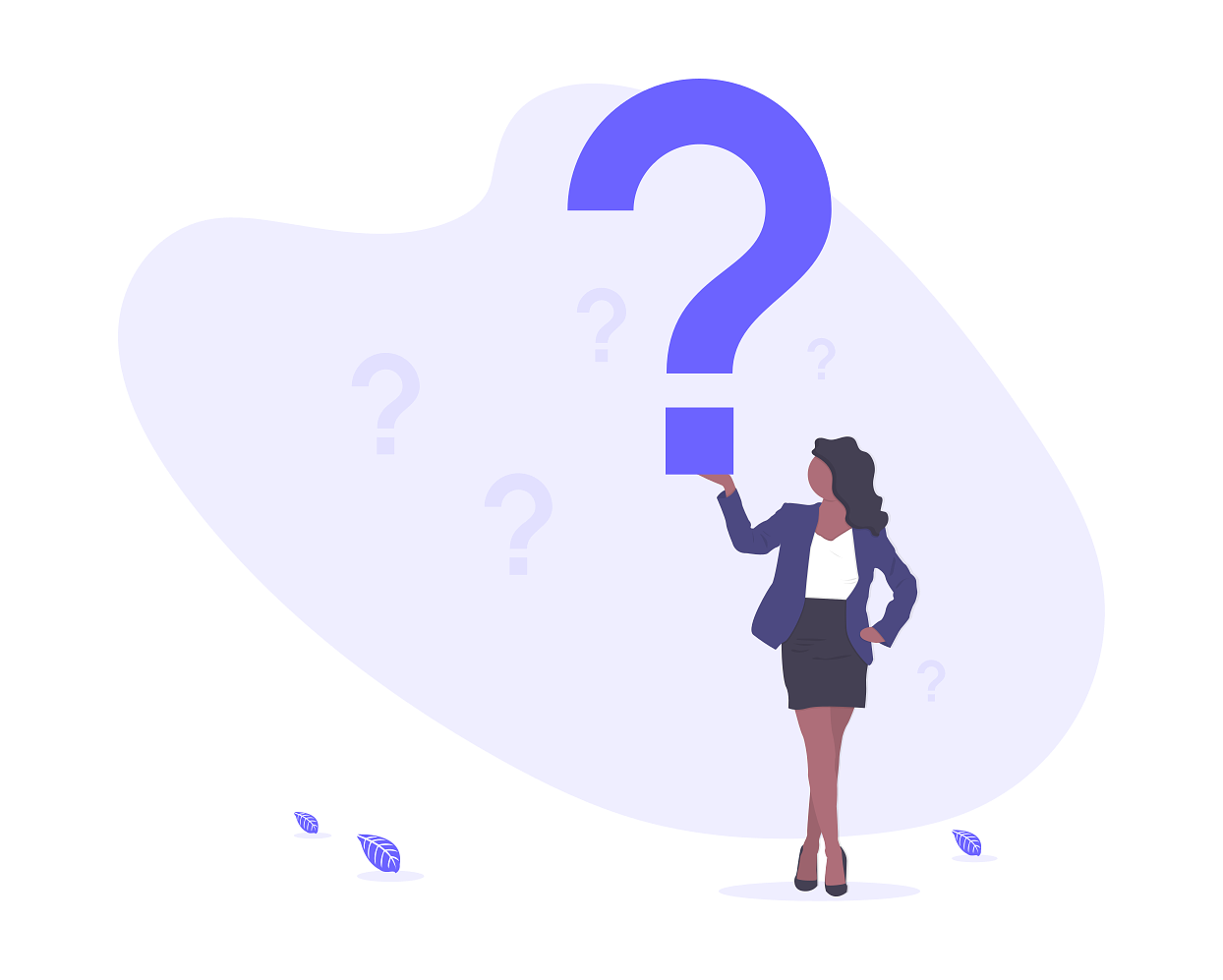 sales qualifying questions illustration of a woman holding a giant question mark