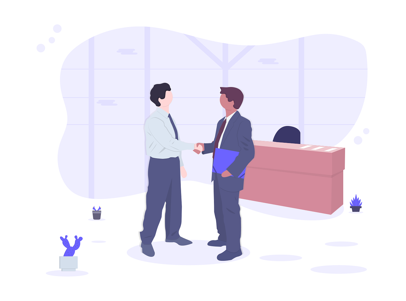 illustration of a sales deal closing with a handshake