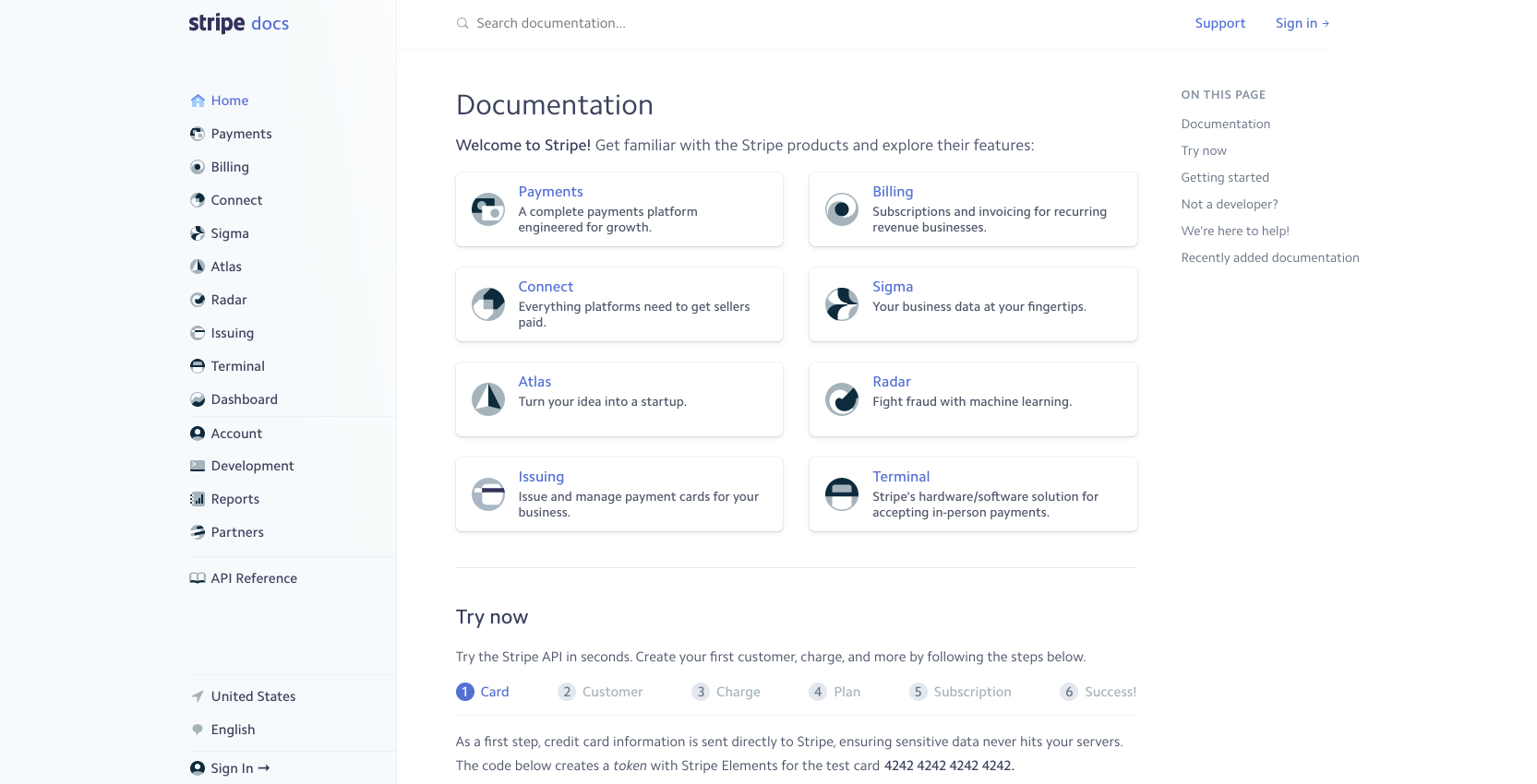 stripe help documentation. stripe is a great example of a company with excellent develper help docs