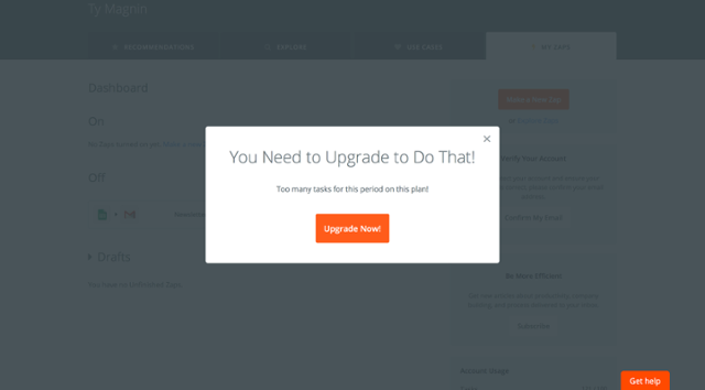 "zapier upgrade prompt modal window that says ""you need to upgrade to do that!"""