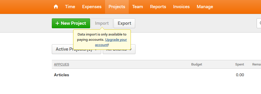harvest upgrade prompt tooltip with in-line text upsell message