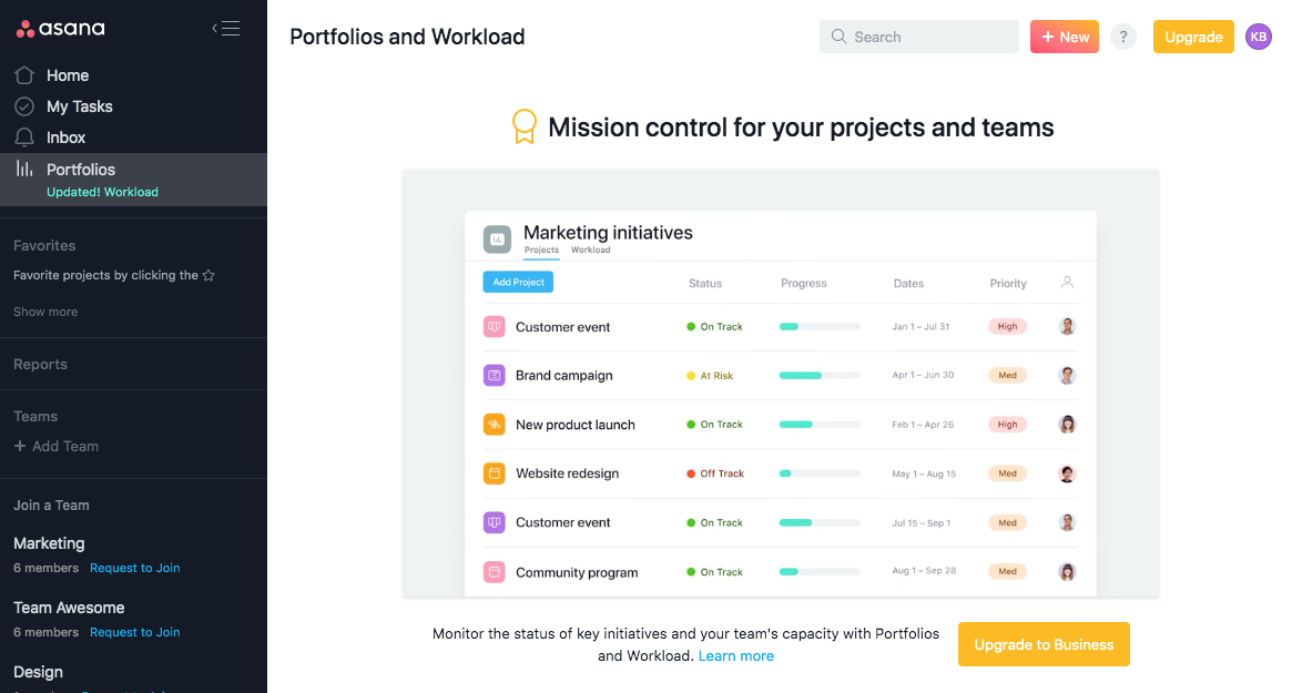 asana portfolios and workload dashboard premium account upselling with upgrade CTA