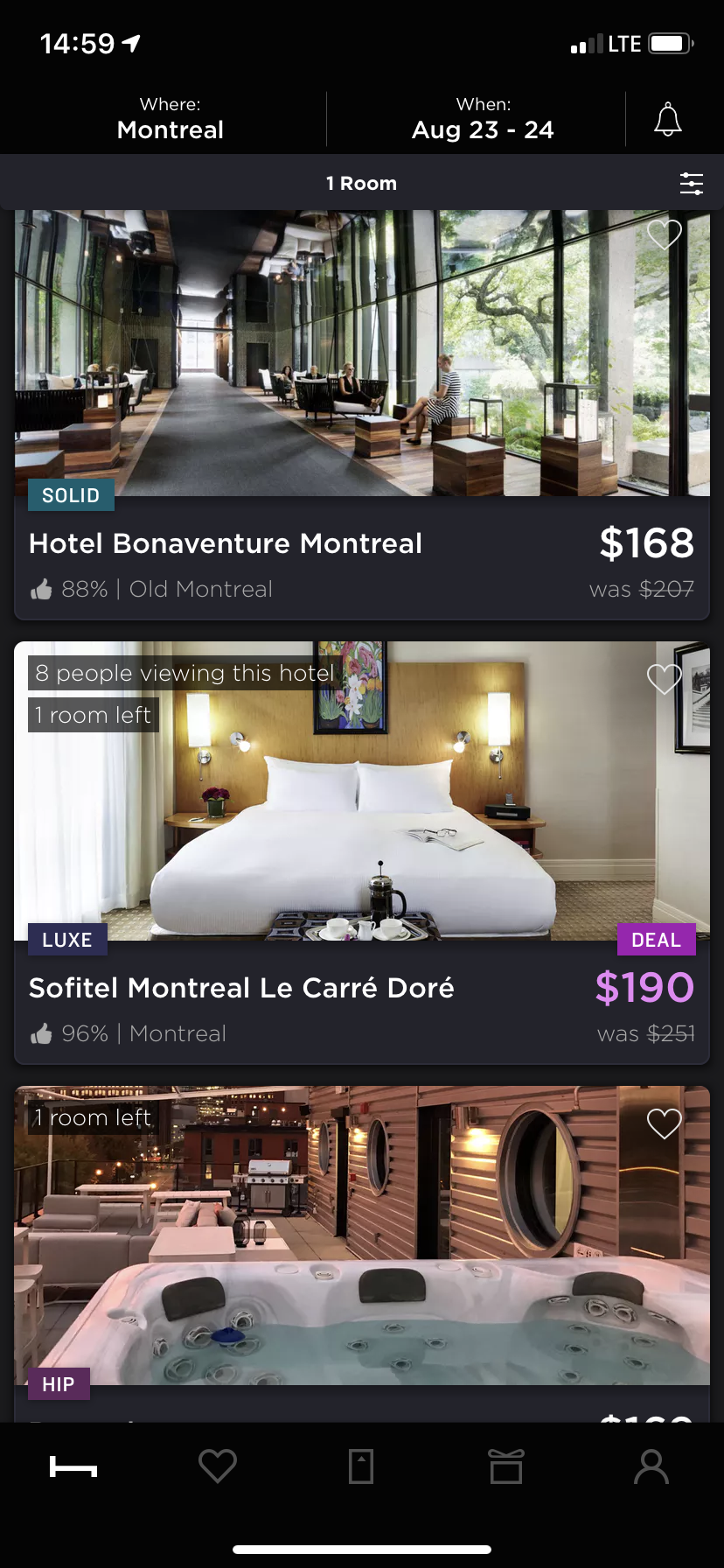 A screenshot of Hotel Tonight's mobile UI, which was created by UX mapping.