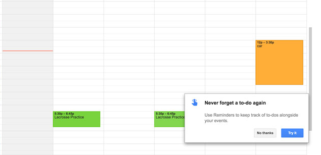 google reminders for calendar app feature announcement tooltip