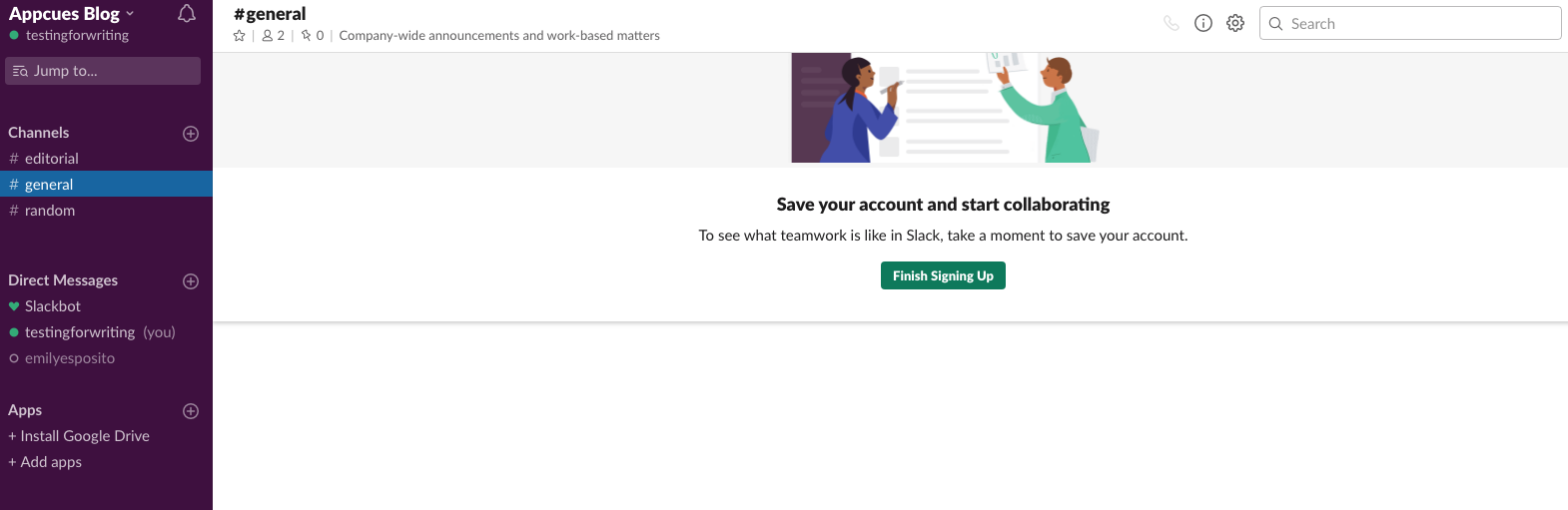 slack 2019 new user onboarding screen finish signup prompt banner