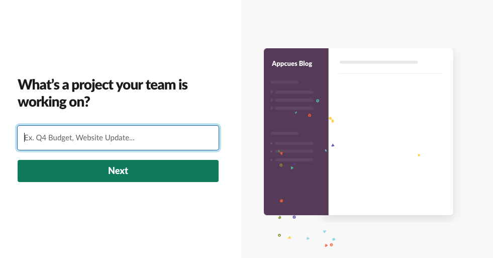 slack new 2019 user onboarding project name account creation step