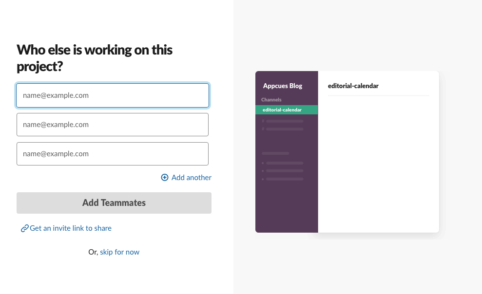 slack new 2019 user onboarding add a teammate account creation step