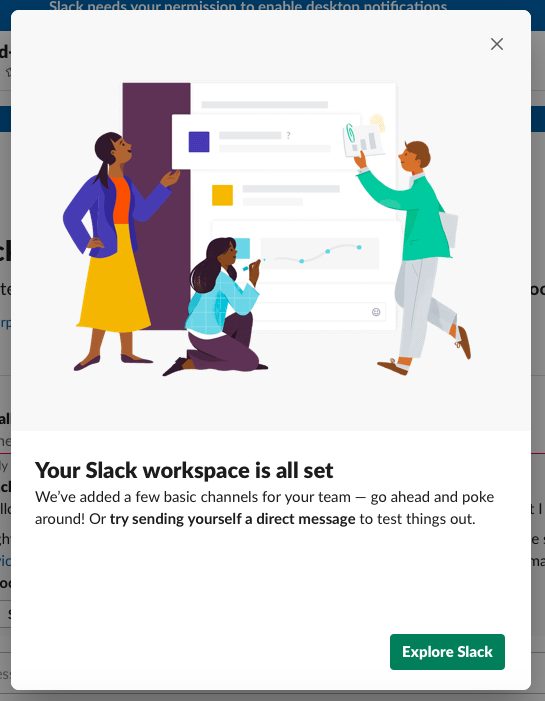 slack new onboarding modal window with explore slack CTA