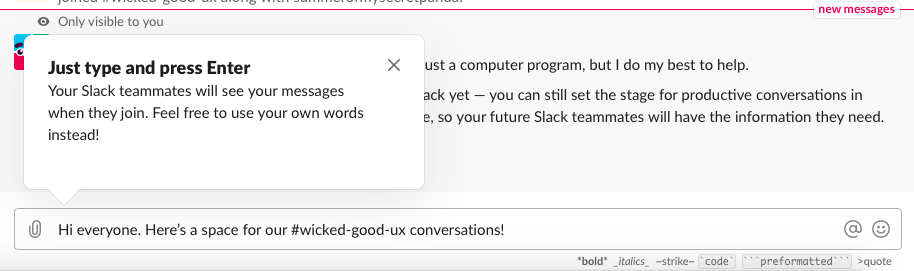 slack new user onboarding tooltip from current 2019 version of slack
