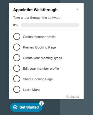 appcues checklist example from appointlet—this is a user onboarding checklist example