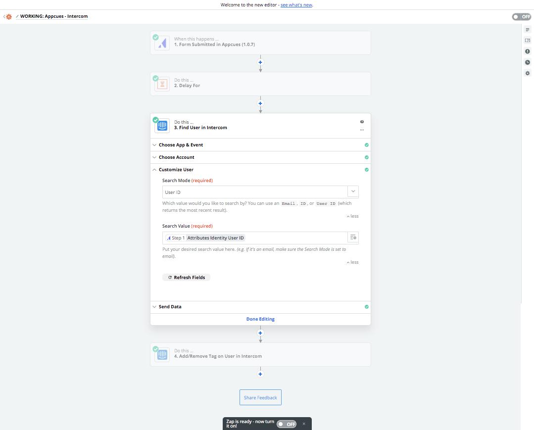 Appcues Zapier integration find action setup how to use Appcues Zapier integration